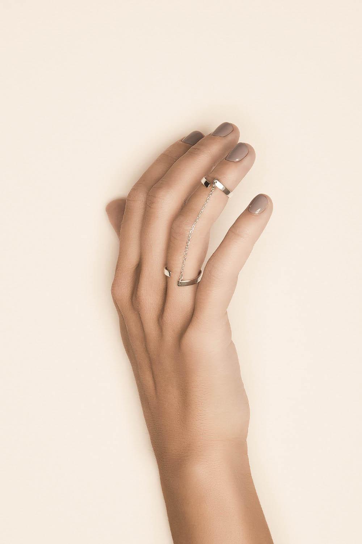 Кольцо двойное с цепочкой «День»