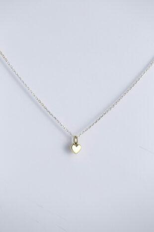 Подвес «Сердце в золоте на серебряной цепи»