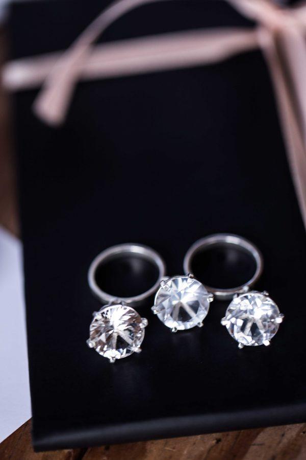 Двойное кольцо с 3-мя подвижными топазами